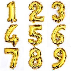 Balão Metalizado Dourado Número E Letra 75cm + Brinde