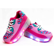 Zapatillas Con Rueditas Y Luz Led Nena 29-36 Footy Childrens