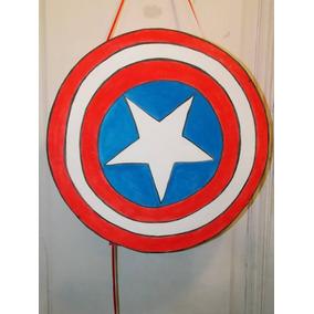 Piñata Escudo De Capitan America En Goma Eva De 50 Cm Aprox
