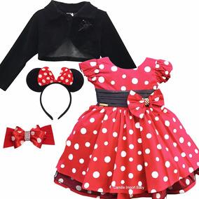 Vestido Festa Minnie Vermelha Luxo Infantil E Tiara E Bolero