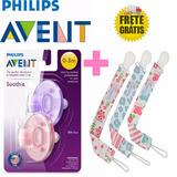 Kit C/ 3 Prendedor De Chupetas Universal + Soothie Avent 3m+