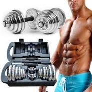 Kit Com Barras Halteres E Anilhas Musculação 15kg Com Maleta