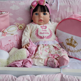 Bolsa+ Bebe Reborn Menina Real Morena Rosa Floral Isa
