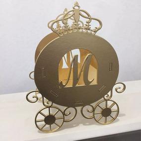 15 Carruagem Princesas Mdf - Dourada Cachepô Centro De Mesa
