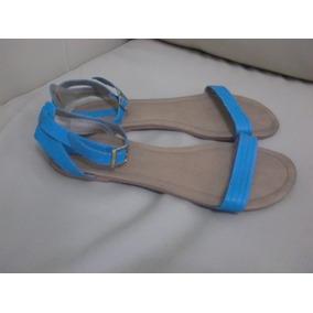 Sandalias Beige/azules Marza Nais Talla 40 Sin Tacón Exc.edo