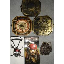 Colección Piratas Del Caribe Brújula- Calavera-moneda Anillo