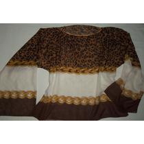 Camisola Túnica Seda Hindu Estampada Animal Print Diseño Exc