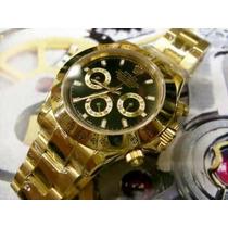 Relógio Dourado Daytona Dial Preto Automático Frete Grátis