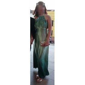 Vestido De Festa Sob Medida Acetinado Degrade Verde Bordado