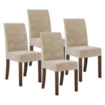 Jogo De 4 Cadeiras Maderoa Sued Bege Estofada Dj Móveis