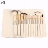 Set 12 Pinceles Y Brochas De Maquillaje Manta Blanca