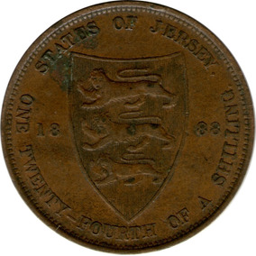 Spg Bailiwick Of Jersey 1/24 Shilling 1888 Victoria