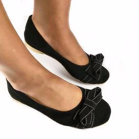 Sapatilha Feminina Sapatos Femininos Laço Preto Calçados