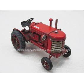 Tractor De Chapa Metal Miniatura Rural Decoración Colección