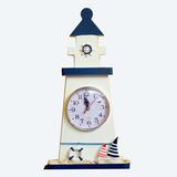 Faro De Marinero Replica Artesanal De Madera Con Reloj