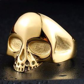 Anel Caveira Em Aço Inox Banhado A Ouro