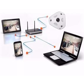 Camera Ip Panoramica Wi Fi 3d Rotativa Celular Pc Notebook