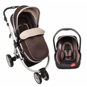 Carrinho 3 Rodas C/ Moisés + Bebê Conforto Marrom - Dardara