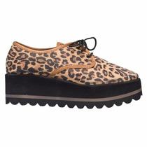 Zapato Mujer Plataforma Animal Print Acordonado Comodo