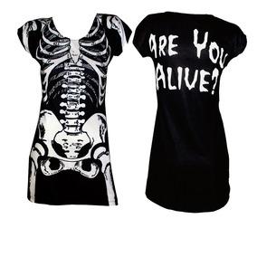 Vestido Esqueleto Calavera Negro Huesos Sónica Vanguardia