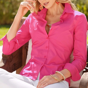 Camisa Blusa Feminina Social Chiffon Manga Longa Cores Rosa
