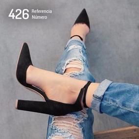 Sapato Scarpin Preto Salto Grosso Estilo Importado Ref: 426