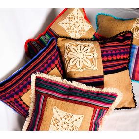 Fundas Para Almohadones (arpillera + Aguayo + Crochet)