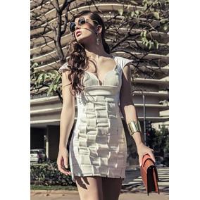 Vestido Branco Entrelaçado Bandagem E Seda Delineado