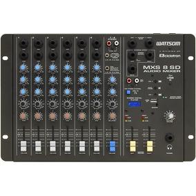 Mesa De Som Stereo 8 Canais Mxs 8 Sd Wattsom Com Entrada Usb