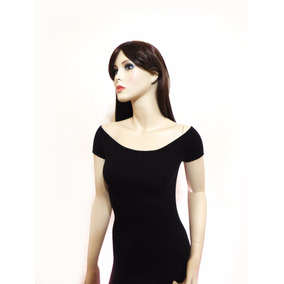 Vestido Negro Manga Corta Estilo Tejido