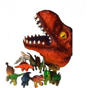 Cabeça Flex Com Miniaturas - Dinossauro T-rex (laranja) - Dt