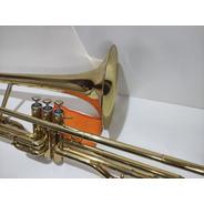 Trombone Em Dó Médio Marinos Dourado Completo