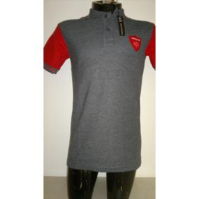 Camisa Playera Tipo Polo Armani Exchange Color Gris Con Rojo