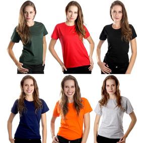 Camiseta Baby Look Feminina Algodão Lisa Blusinha Camisa