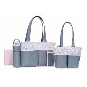 Bolsa Kit Maternidade Bebê 5 Peças - Carters - Cinza E Rosa