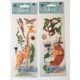 2 Paquetes De Calcomanías Para Scrapbooking Animales Selva
