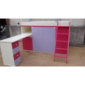 Dormitorio Juvenil Laqueado Bi Color Con Escritorio Placard