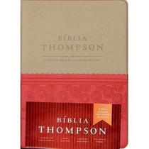 Bíblia De Estudo Thompson Luxo Vermelha Bege Couro