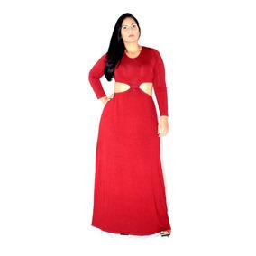 Vestido Longo Manga Longa Decotado Blogueira Viscolycra Pura