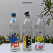 Botella Vidrio Para Agua 1 Litro Leche Tomate Tapa Silicona