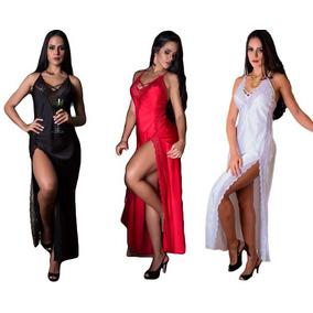 Camisola Longa Rendada C/fenda Nupcial Noite Promoção