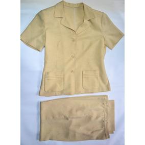 Conjunto Saco M/corta Derecho Y Pantalón Color Maíz T/44