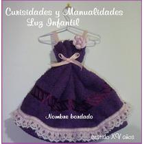 Vestido Quinceañera Recuerdo Toalla Facial Nombre Bordado