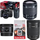 Canon T6i Premium Kit 18-55 Is Stm+50 1.8 Is Stm 55-250+32mb