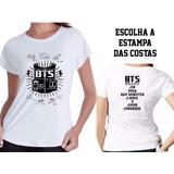 Camisa Feminina Babylook Bts Kpop Autografos C Nome Costas V