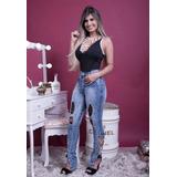 Calça Jeans Feminina Rasgada Hot Pants Detalhes Laterais