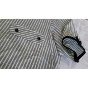 Blusa 100% Algodon Rayado Verde Agua/blanco. Talle M