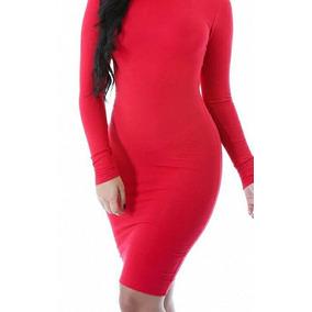 Vestido Rojo En Talla 5 Strech Manga Larga