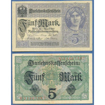 * Alemania 5 Mark 1917 P.56b 8 Dígitos Excelente Billete