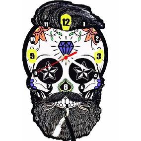 Relógio De Parede Mdf C/ Pêndulo Retro Caveira Barbearia